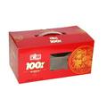 el paquete de color rojo con una caja de la ventana