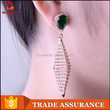 alibaba express silver jewelry fashion long drop green crystal earring for women