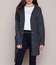 Balck sweater coat 2015 lady knit hooded cardigan coat HSC3534