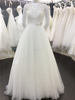 Hot Sale Beadings Button Back Long See Through Sleeves Musilim Bridal Wedding Dresses A012