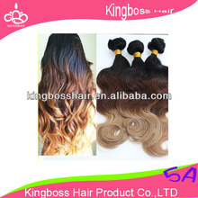 2013 hot sale factory pice no shedding tangle free ombre three tone colors human hair weave