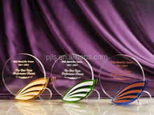 Luxury Souvenir Crystal Trophy with colorful base, crystal shield