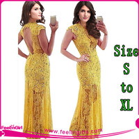 Yellow Short Sleeve Backless Lace Long Dress