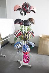 Customized Flooring Detachable Metal Wheels Motorcycle helmet display stands