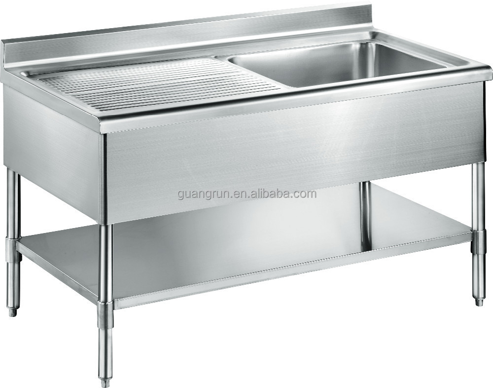 Free Standing Commercial Stainless Steel Kitchen Sink With