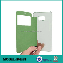 Fashion design flip leather clear PC cell phone case for Samsung Galaxy Note 5