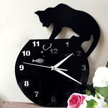 Funlife Acrylic Clock Wall Clock Cat Clocks Wall Cat and Fish wc1437