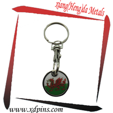 customized metal 3d promotional trolley coin keychain