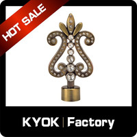 KYOK metal pole curtain rod finials, wrought iron ceiling design curtain finial bronze, decorative diamond curtain rod finial
