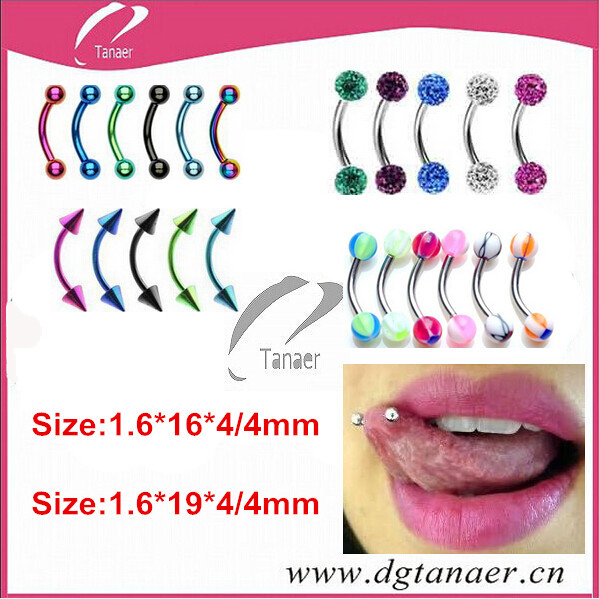 New Style Curvedbanana Barbell Eyebrow Piercing Tongue Piercing