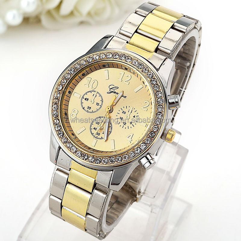 wholesale luxury fashion geneva gold stainless steel