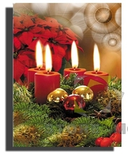 Lighted Up Christmas Red Candle Stretched Canvas Painting Wall Art
