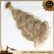 "18"" Remy Human Pre Bonded Nail U Tip Keratin Glue Hair Extension"