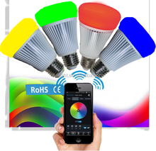 2015 NEW bluetooth Android & IOS RGB+CCT color change bluetooth led bulb multi colors 8 modes led Bluetooth bulb