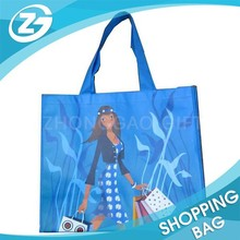 4202920000 Blue Color Eco Lamination Printed PP Woven Shop Bag