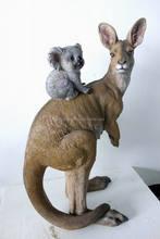 Decorative Resin kangaroo Toy With koala , polyester resin for gift, Resin toy With baby kangaroo for gift