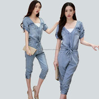 high quality fashion trendy plus size denim jumpsuit