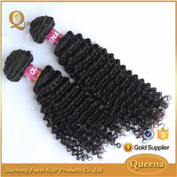 xuchang hair factory wholesale 8-30 inches natural color kinky curly brazilian human hair weft
