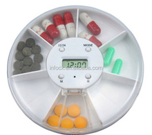 High quality 7 grids pill box / pill box with clock / pill box with alarm timer