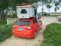 Hard shell camping trailer hard top roof tent with changing room