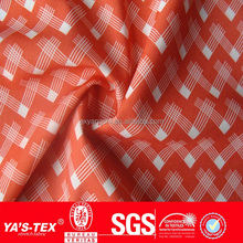 2014 new design shaoxing textile spandex polyester digital printed red and white check fabric