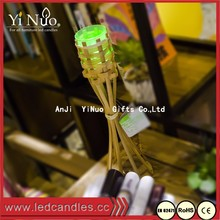 Small Bamboo Crafts/Floor Lantern with Color Changing Tea Light