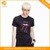 Black Embroidery Mens Korean Fashion T Shirt Factory