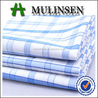 Mulinsen Textile 100% Cotton Yarn Dyed Check Printed Blue Navy Plaid Fabric