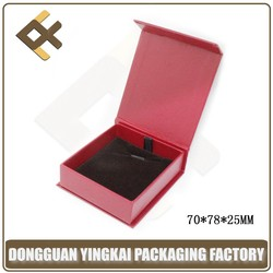 leatherette paper jewelry box pendant/red pendant gift box/magnetic pendant packing box