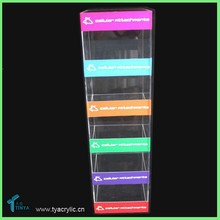 5-tier Counter Acrylic Display Stands Mobile Accessories USB Wall/Car/Travel Charger Stand Wholesale Mobile Phone Charger Holder