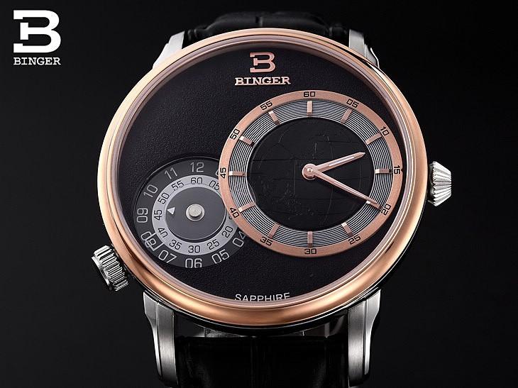 Военные Бингер GMT Смотреть Мужчины Япония Кварцевые часы Люксовый бренд Повседневная часы Кожа наручные часы Карта часы Женева