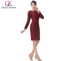 Grace Karin 2015 New Knee Length Red Long Sleeves Mother of The Bride Lace Dresses CL6278