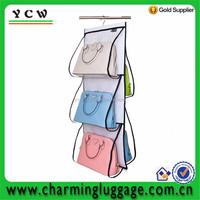Transparent visual closet 6 sections wall hanging storage bag organizer