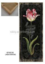 Antique Flower designs fabric linen painting