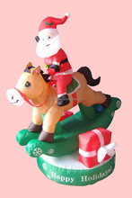 150cm high inflatable Christmas decoration Santa on horse with rotating function