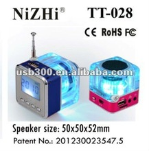 Factory wholesale read USB and micro SD TF card crystal portable speaker with LED light