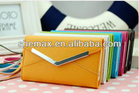 2015 New Product Top Flip Leather Wallet Case /cover/Holster with mirror For Iphone 5