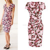 Wrap front with Navy Pink Floral short sleeve mini women dress
