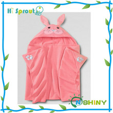 wholesale high quality kids pink bunny hooded towel baby robe