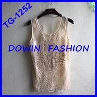 2015 latest design sequins tank top OEM wholesale manufacturer sequins tank tops for women