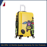 cow/ox pattern Ladies 20/24 inch polycarbonate colorful hard shell pc abs luggage