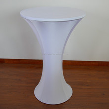 Spandex stretch cocktail table cover with round bottom
