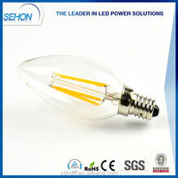 UL CE ROHS TUV led candle shaped bulbs e12 e14 1w 2w 3w 4w led filament candle light bulb