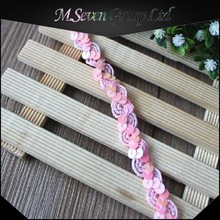 Wholesale Pink Sequin Bridal Lace Trim for Garment/Headband