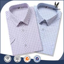 Barato japonés camisas hebilla hombres manga corta camisa de la rejilla
