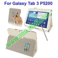 Leather Cover for Samsung Galaxy Tab 3 10.1 P5200 with Holder & Credit Card Slots & Elastic Hand Strap & Touch Pen