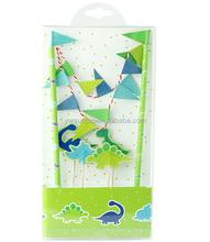 New DIY Dinosaurs Paper Party Decoration Cake Wrapper Flag Set