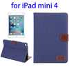 Factory price Denim Texture Leather flip cover for ipad mini 4 tablet case