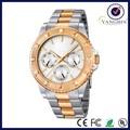 Todo el acero inoxidable de plata oro rosa reloj con seis manos