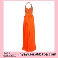 Drop Shipping Wholesale Women Girl Lady Vestidos Design Club Party Prom Dresses Chiffon Chain Drawstring Maxi Dress 7185
